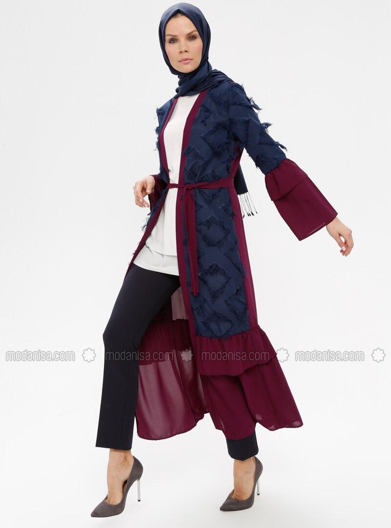 Navy Blue - Purple - Unlined - V neck Collar - Abaya