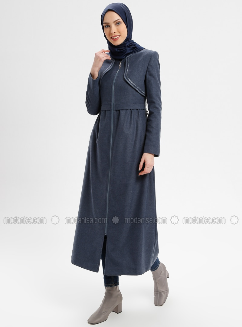 Blue - Fully Lined - Crew neck - Coat