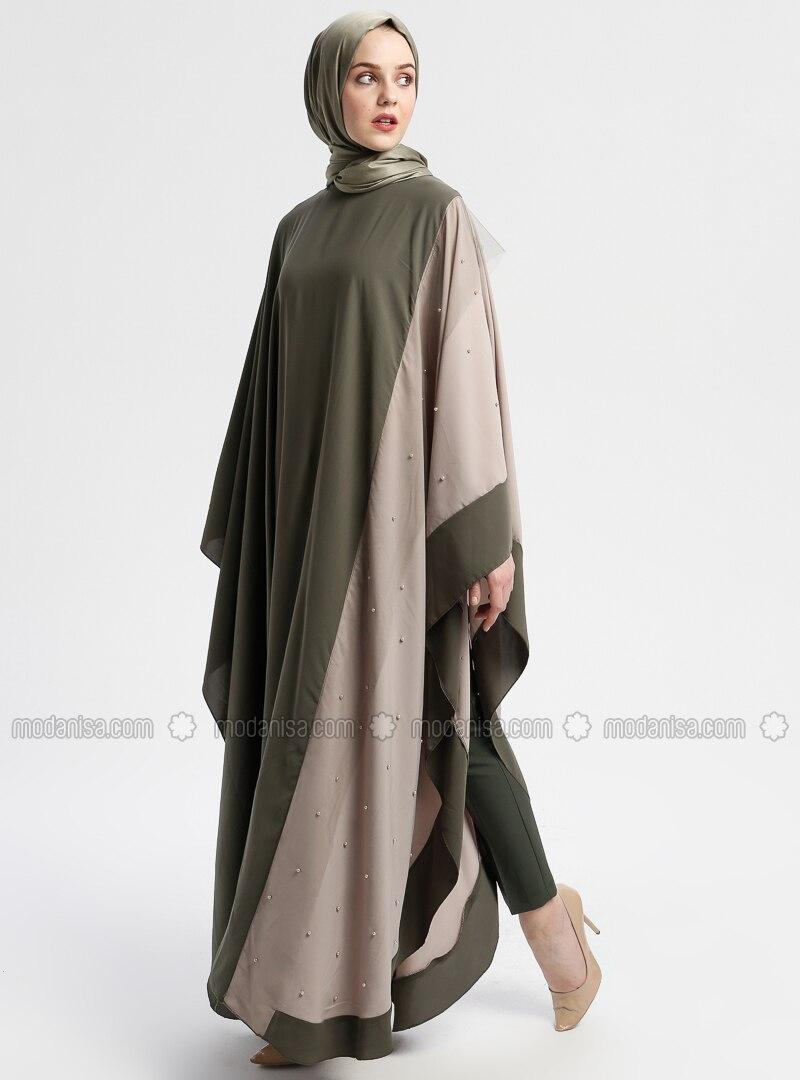 Beige - Khaki - Unlined - Crew neck - Abaya
