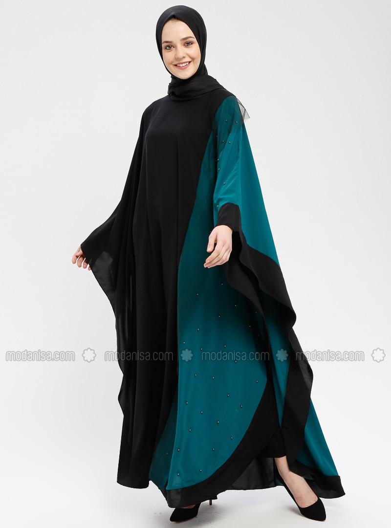 Black - Emerald - Unlined - Crew neck - Abaya