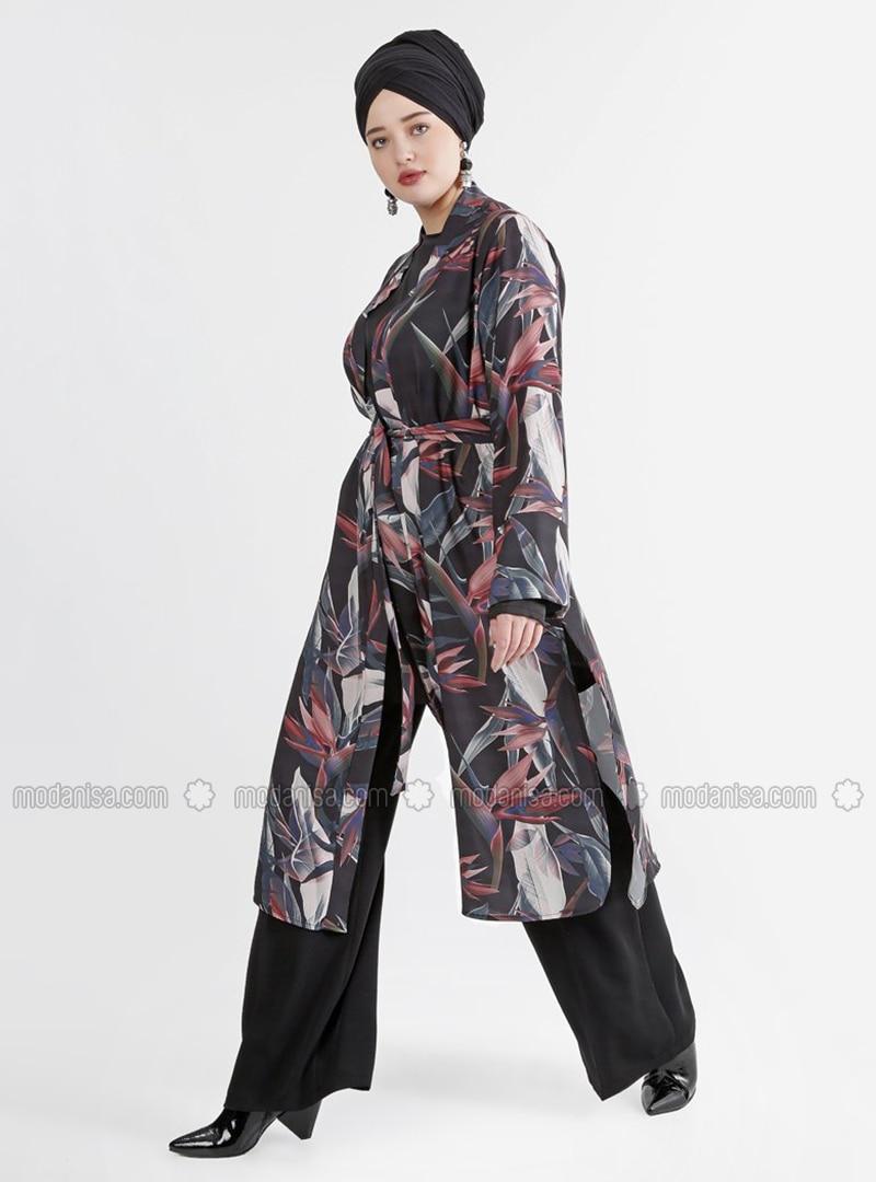 Black - Salmon - Multi - Crew neck - Fully Lined - Plus Size Suit