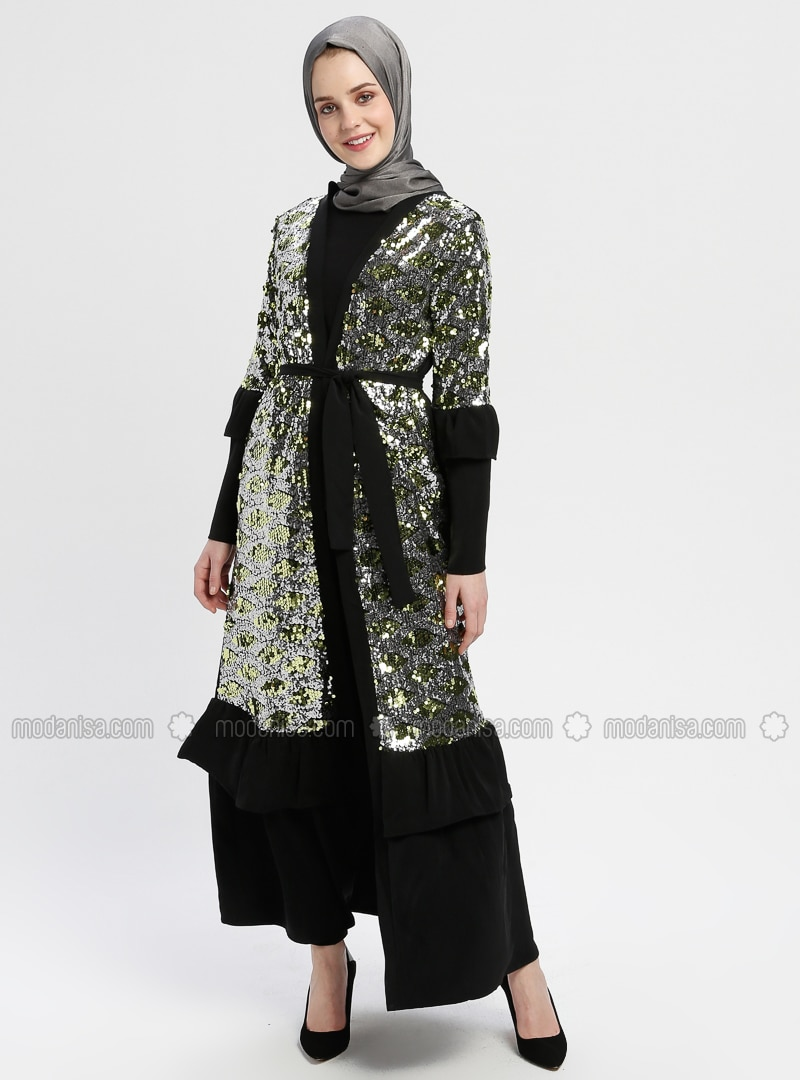 Black - Gold - Unlined - V neck Collar - Abaya