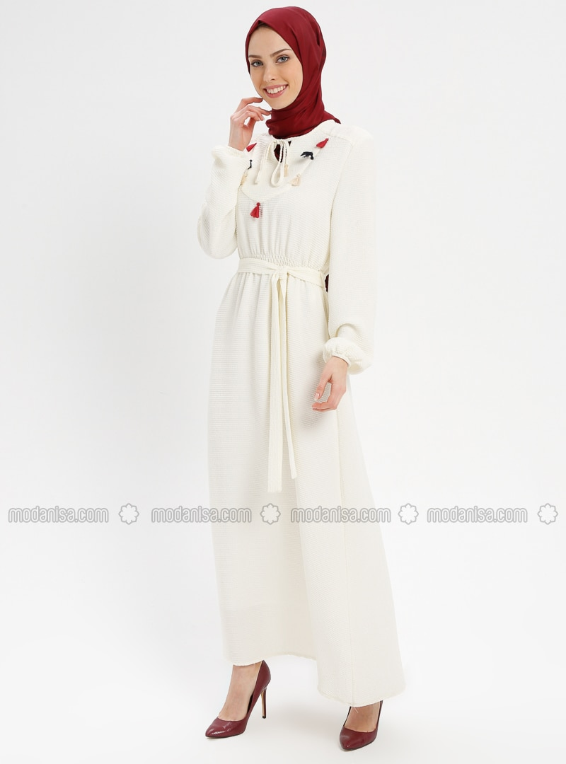 White - Ecru - V neck Collar - Fully Lined - Dresses