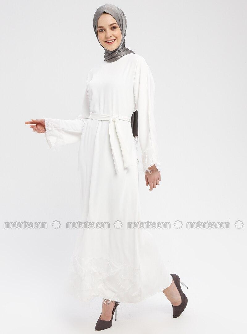 White - Ecru - Crew neck - Unlined - Dresses