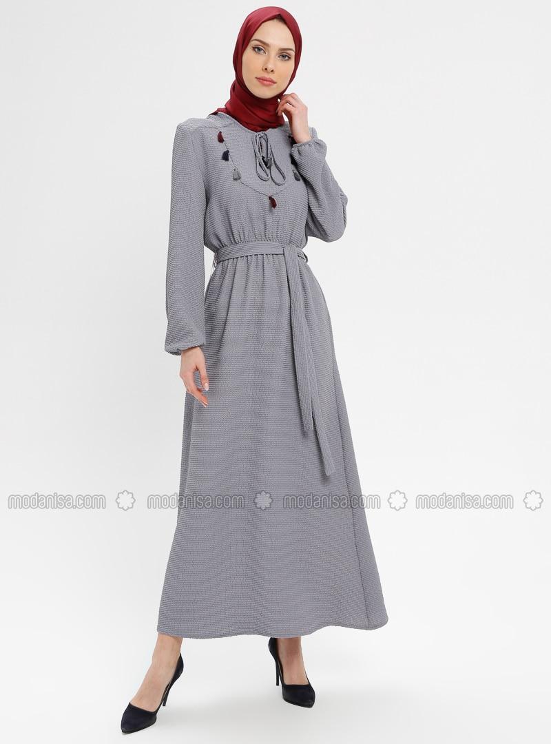 Gray - V neck Collar - Fully Lined - Dresses