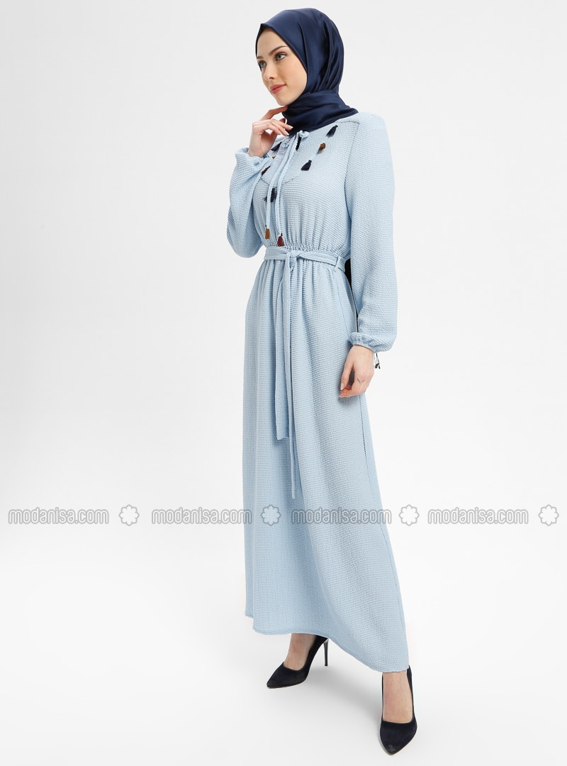 Blue - V neck Collar - Fully Lined - Dresses