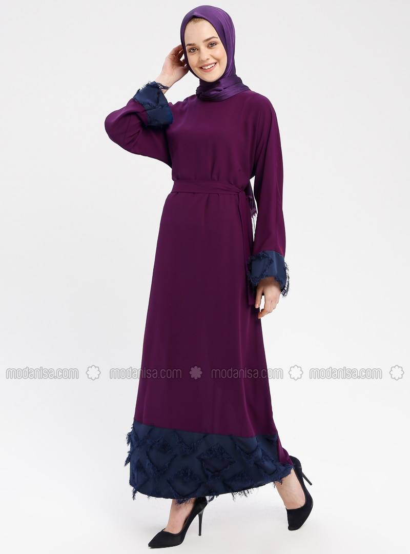 Navy Blue , Purple , Crew neck , Unlined , Dresses