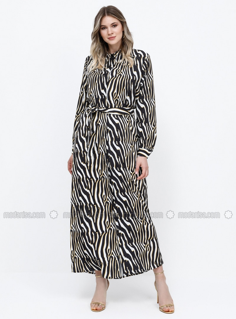Black - Yellow - Zebra - Unlined - Point Collar - Plus Size Dress