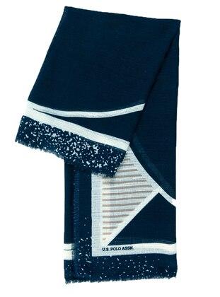 Black - Navy Blue - Cream - Printed - Scarf