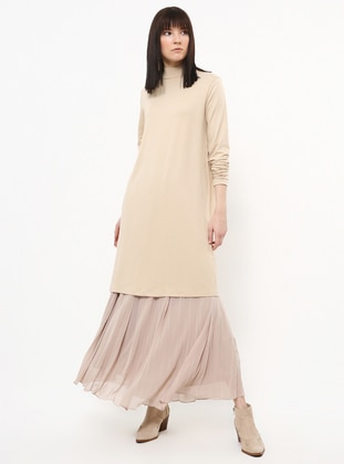 Beige - Polo neck - Viscose - Tunic