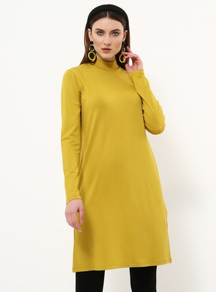 Yellow - Polo neck - Viscose - Tunic