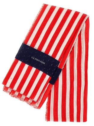 Red - Navy Blue - Cream - Printed - Shawl - Akel