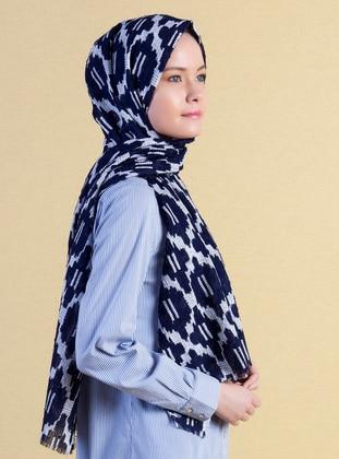 Navy Blue - Cream - Printed - Shawl - Akel