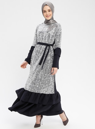 Navy Blue - Silver tone - Unlined - Crew neck - Muslim Evening Dress