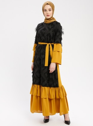 Black - Mustard - Crew neck - Unlined - Dresses