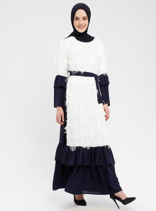 White - Navy Blue - Ecru - Crew neck - Unlined - Dresses