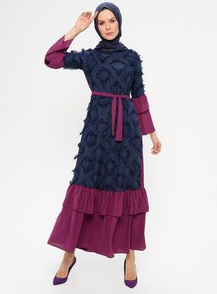 Navy Blue - Purple - Crew neck - Unlined - Dress