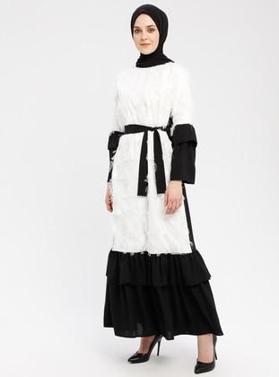 Black - White - Ecru - Crew neck - Unlined - Dresses