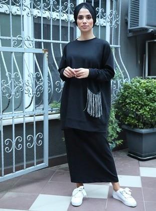 Black - Cotton - Suit - İnşirah