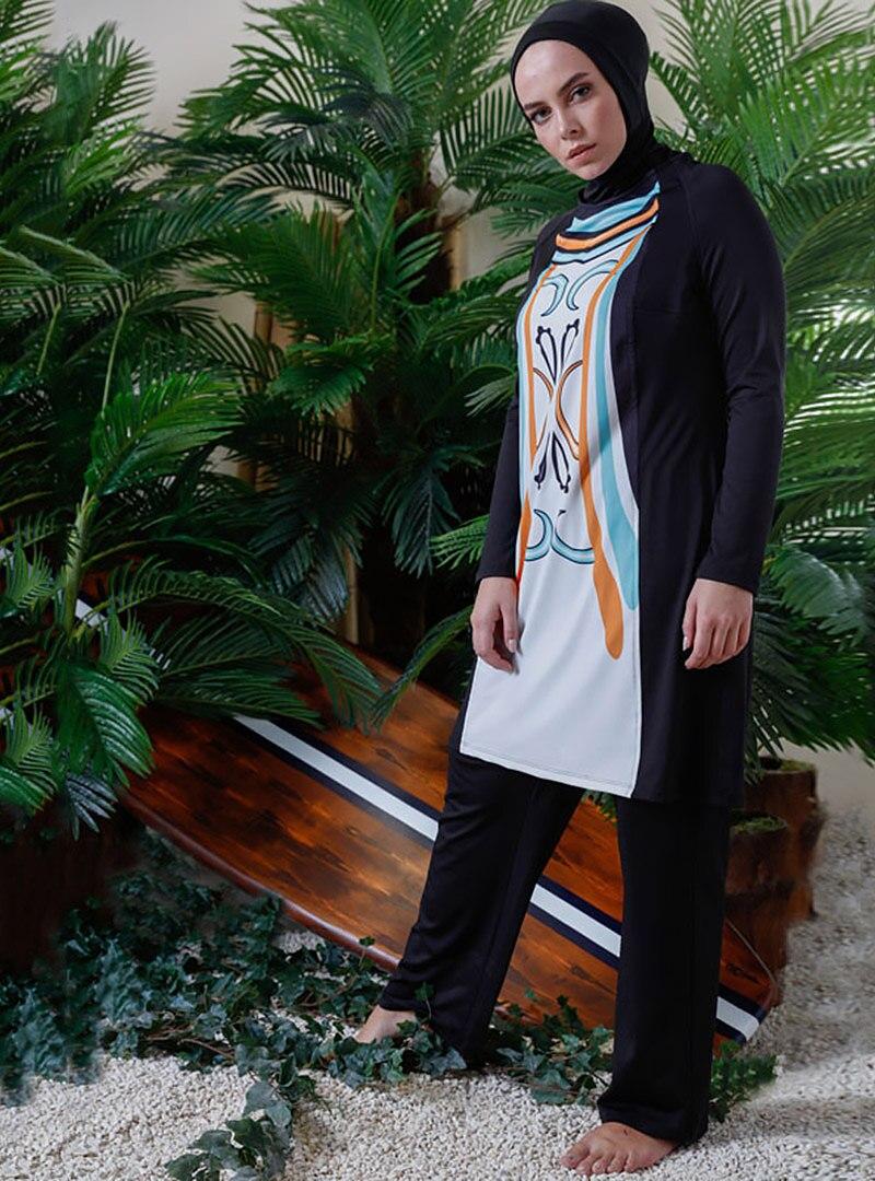 Tesettür Büyük Beden Kapalı Mayo Mayovera Beyaz Turuncu Kadın 46