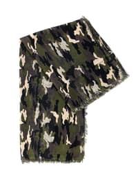 Smoke-coloured - Olive Green - Printed - Shawl