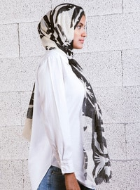 Brown - Cream - Printed - Shawl