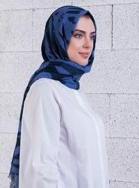 Blue - Indigo - Printed - Shawl