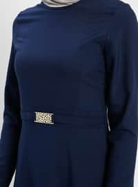 Navy Blue - Crew neck - Unlined - Dresses - ZENANE