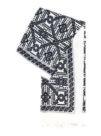 Navy Blue - Ecru - Printed - Scarf