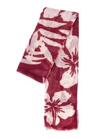 Maroon - Cream - Printed - Shawl