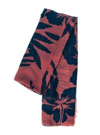 Navy Blue - Tan - Printed - Shawl