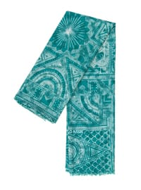 Green - Printed - Cotton - Shawl