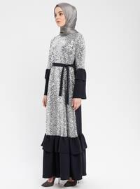 Navy Blue - Silver tone - Unlined - Crew neck - Muslim Evening Dress