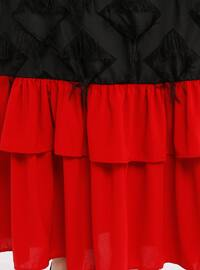 Black - Maroon - Crew neck - Unlined - Dresses