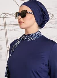 White - Navy Blue - Shawl - Fully Lined - Plus Size Swimsuit