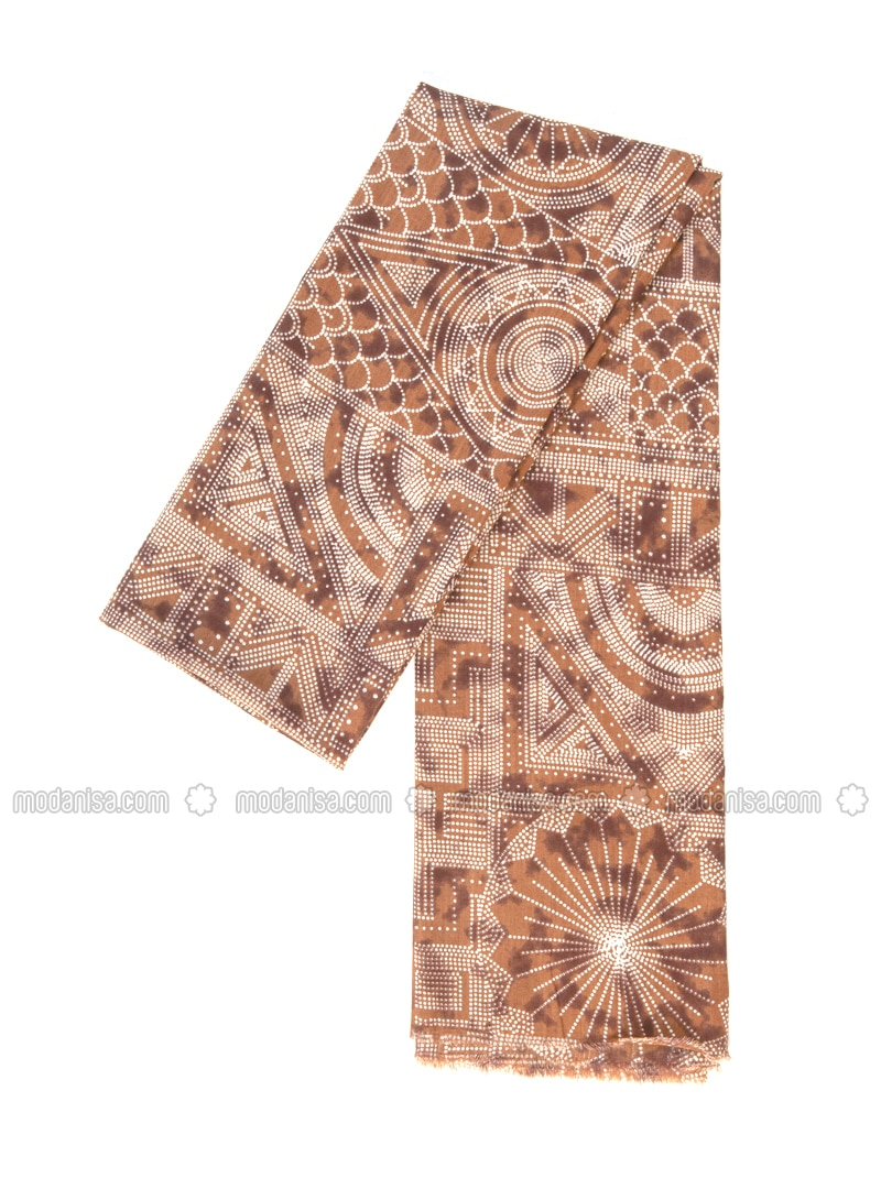 Tan - Printed - Cotton - Shawl