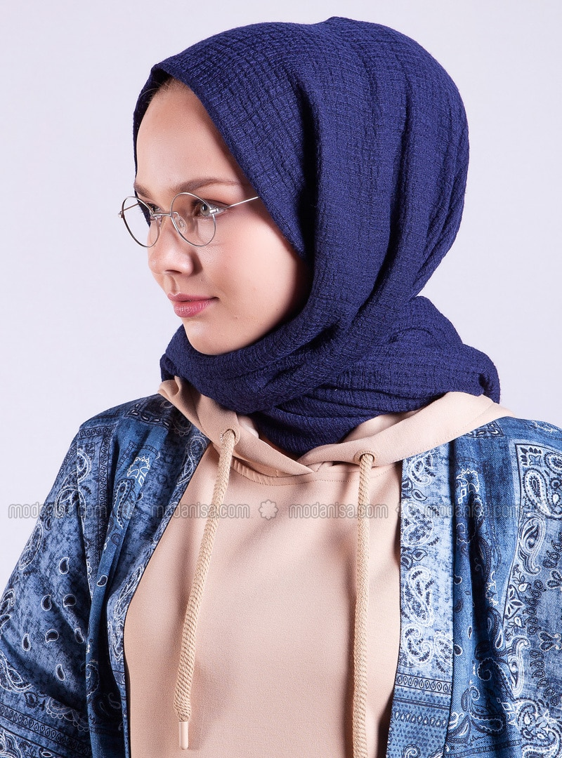 Navy Blue - Printed - Shawl