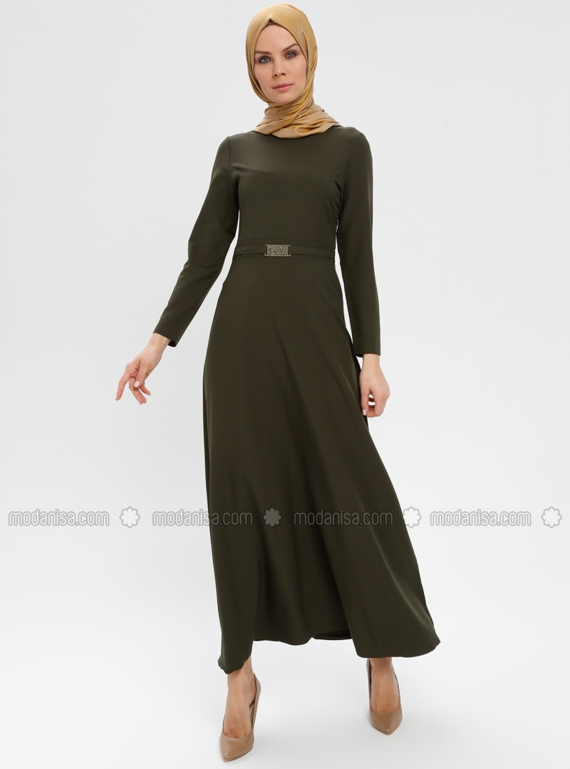 Khaki - Crew neck - Unlined - Dresses - ZENANE