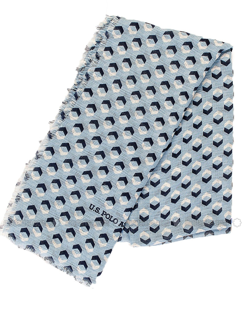 Blue - Beige - Printed - Shawl