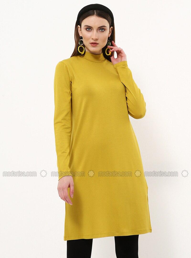 Yellow - Polo neck - Viscose - Tunic