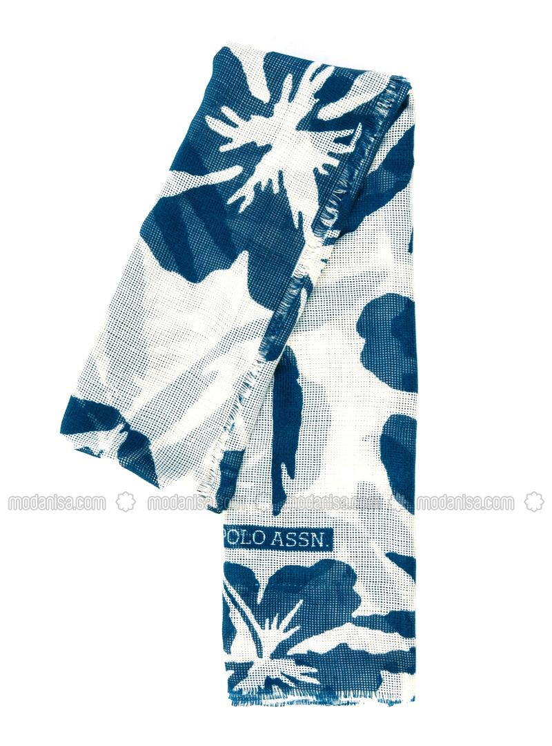 Navy Blue - Ecru - Printed - Shawl