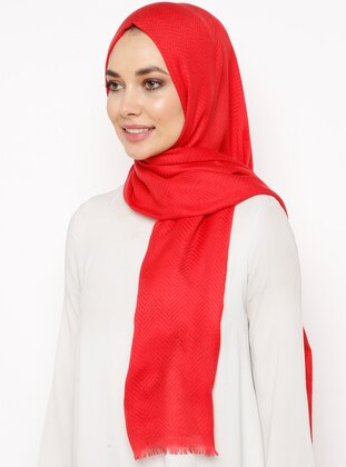 Red - Plain - Cotton - Shawl