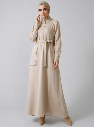 Cream - Point Collar - Fully Lined - Cotton - Dress
