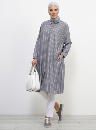 Black - White - Ecru - Stripe - Point Collar - Cotton - Tunic