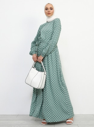 Green - Mint - Polka Dot - Polo neck - Fully Lined - Viscose - Dress