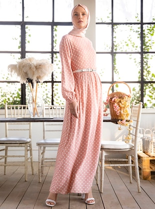 Pink - Polka Dot - Polo neck - Fully Lined - Viscose - Dress