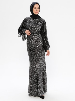 Silver tone - Black - Crew neck - Fully Lined - Dress