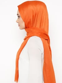 Orange - Plain - Cotton - Shawl