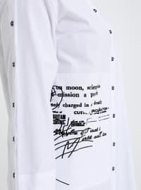White - Ecru - Multi - Point Collar - Cotton - Plus Size Tunic