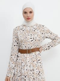 Brown - Beige - Multi - Crew neck - Fully Lined - Viscose - Dress